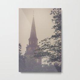 Clocktower in a Fog Metal Print