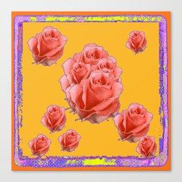 Peachy-Pink Tea Roses Orange-Lilac Art Canvas Print