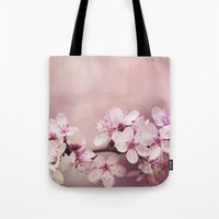 cherry blossom Tote Bags featuring Cherry Blossom by LebensART Photography