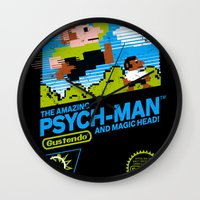 psych Wall Clocks featuring The Amazing Psych-Man and Magic Head! by girardin27