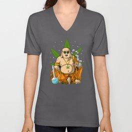 Buddha Weed Smoking Stoner Unisex V-Neck