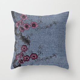 Denim Lace 10 Throw Pillow