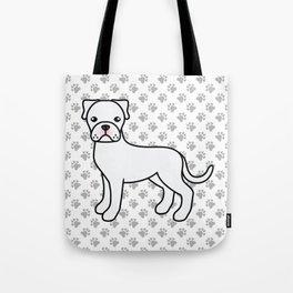 Cute White Boxer Dog Cartoon Illustration Tote Bag