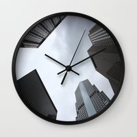 buildings Wall Clocks featuring Buildings by Amy Fairlamb