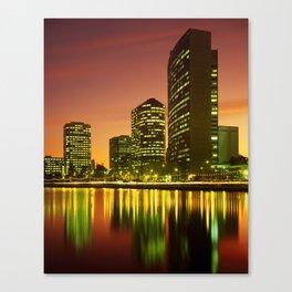 Lake Merritt and Downtown Oakland in Golden Sunset Canvas Print