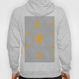 Mustard Cactus White Poka Dots in Gray Background Pattern Hoody