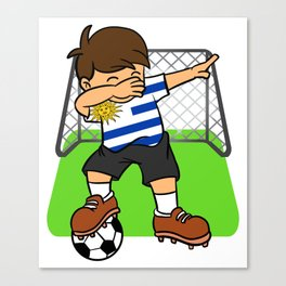 Uruguay Soccer Ball Dabbing Kid Uruguayan Football Goal Canvas Print