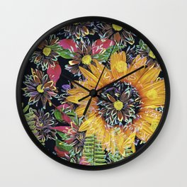 Flower Collage 2 Wall Clock