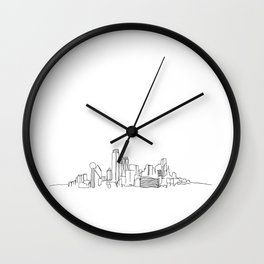 Dallas Skyline Drawing Wall Clock