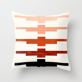 Mid Century Minimalist Ancient Aztec Inca Geometric Pattern Watercolor Brown Colorful Gouache Painti Throw Pillow