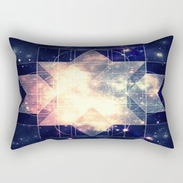 Galaxy Sacred Geometry: Golden Rhombic Hexecontahedron Rectangular Pillow