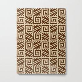 Ikat Aztec Tribal, Chocolate Brown and Tan Metal Print