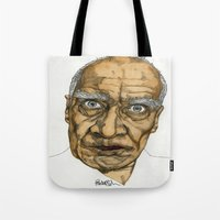 allyson johnson Tote Bags featuring Wilko Johnson by Paul Nelson-Esch Art