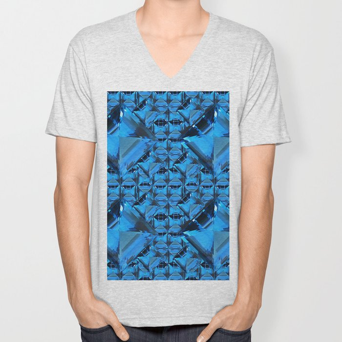 ORNATE  BLUE CRYSTAL GEMS PATTERN Unisex V-Neck