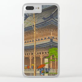 Rain in Higashi-Honganji Temple, Kyoto Asano Takeji Japanese Woodblock Print Clear iPhone Case