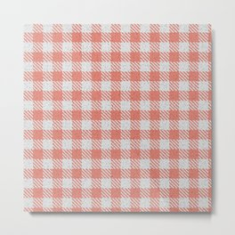 Salmon Buffalo Plaid Metal Print