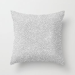 Little wild cheetah spots animal print neutral home trend cool gray black  Throw Pillow
