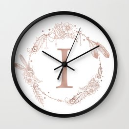Letter I Rose Gold Pink Initial Monogram Wall Clock