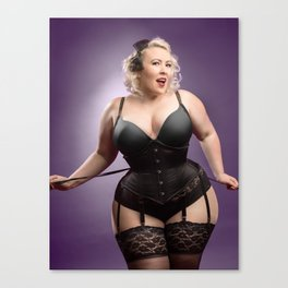 """Help Me With These Laces?"" - The Playful Pinup - Curvy Corset Pinup Girl by Maxwell H. Johnson Canvas Print"