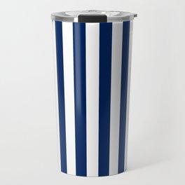 Navy and White Small Even Stripes Travel Mug