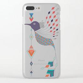 Vintage ethnic tribal aztec bird Clear iPhone Case