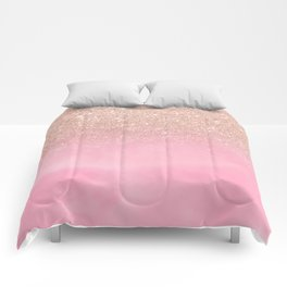Modern rose gold glitter ombre hand painted pink watercolor Comforters