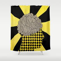 brain Shower Curtains featuring Brain by Art By Carob