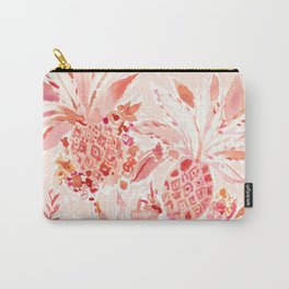 PINEAPPLE JUICE Peach Tropical Floral Carry-All Pouch