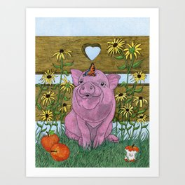 Happy Little Piglet Art Print