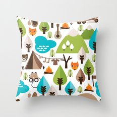 Wild camping trip with fox and wild animals illustration Throw Pillow