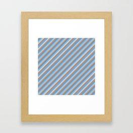 Blue Grey White Inclined Stripes Framed Art Print