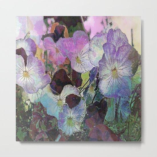 Pansies Purple Metal Print