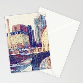 Minneapolis, Minnesota Skyline Stone Arch Bridge Stationery Cards