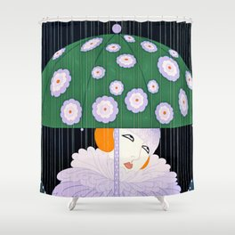 """Green Umbrella"" Art Deco Design Shower Curtain"