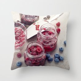 homemade raspberry, blueberry and red currant jam Throw Pillow