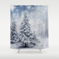 xmas Shower Curtains featuring Winter scenery xmas tree by Juliana RW