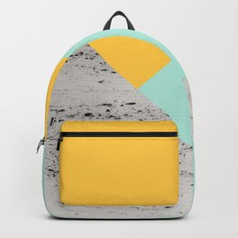 Yellow and Mint meets Concrete Geometric #1 #minimal #decor #art #society6 Backpack