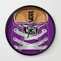 vans Wall Clocks featuring Cute Purple Vans all star baby shoes apple iPhone 4 4s 5 5s 5c, ipod, ipad, pillow case and tshirt by Three Second