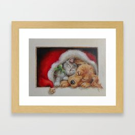 Cute pets Dog and Cat sleeping in the Santa's hat Christmas illustration Framed Art Print