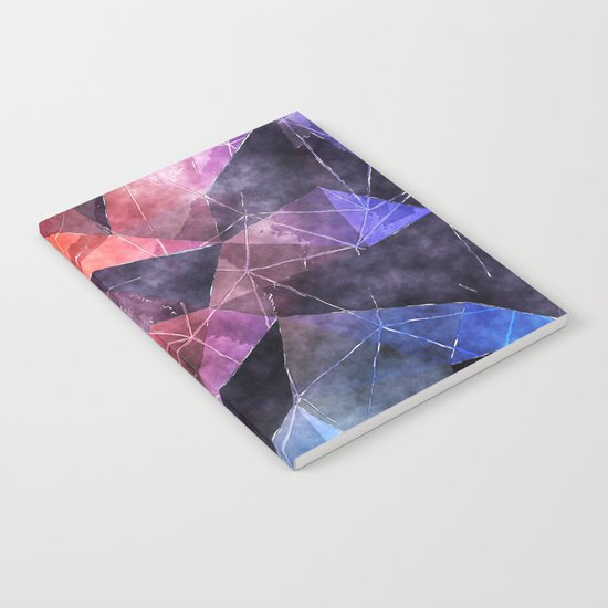 In the deep of the earth- Abstract colorful triangle watercolor pattern Notebook