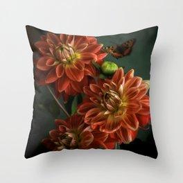 Red Dahlias Throw Pillow
