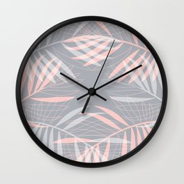 Palm leaves lace pattern on grey Wall Clock