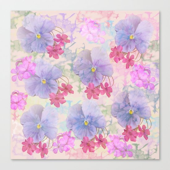 Painterly purple pansies and pink Oxalis Canvas Print