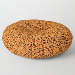 Egyptian Hieroglyphics // Orange Floor Pillow