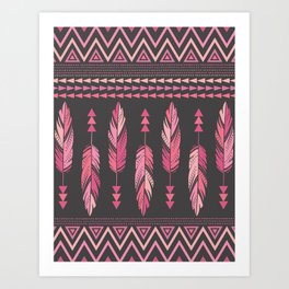 Painted Feathers-Gray Art Print