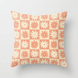 Peach And Off White Checkered Floral Pattern Throw Pillow