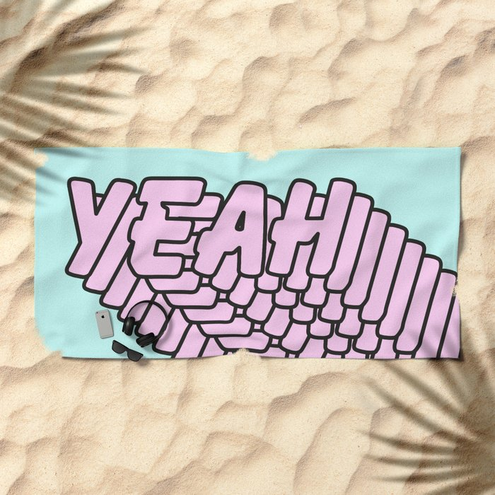 YEAH Typography Pink Blue Beach Towel