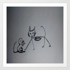 Cat,mouse n fish skull Art Print