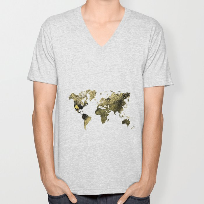 Gold world map Unisex V-Neck