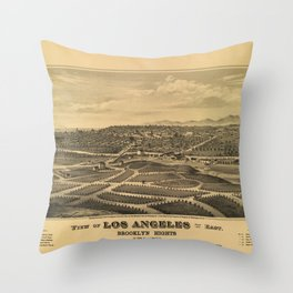 Aerial View of Los Angeles, California (1877) Throw Pillow